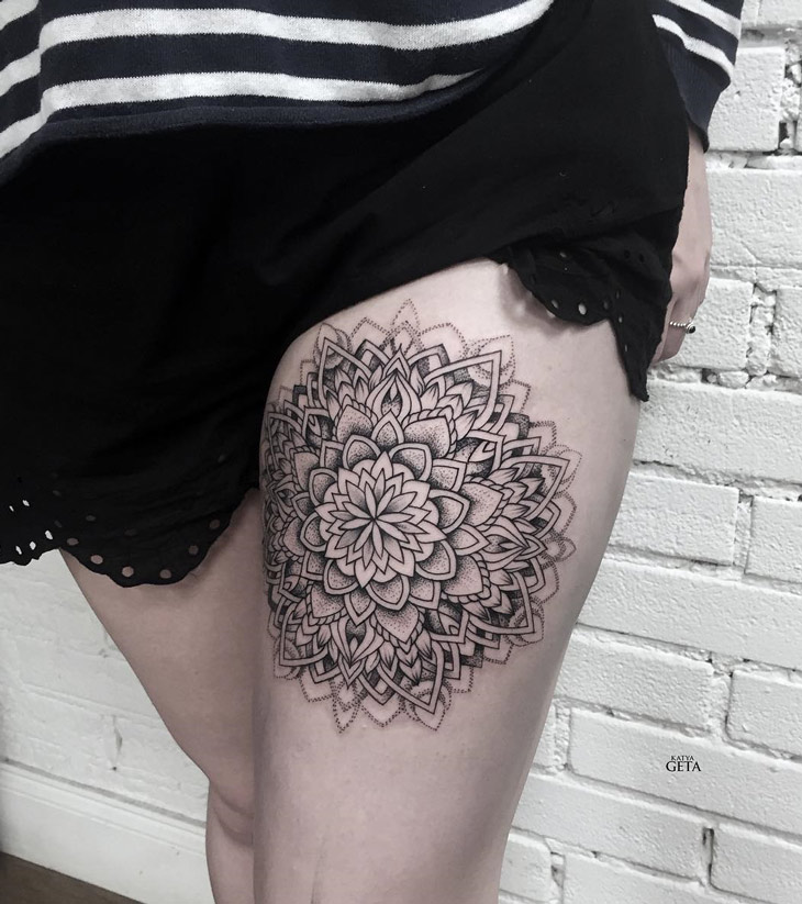 Intricate Mandala Thigh Tattoo
