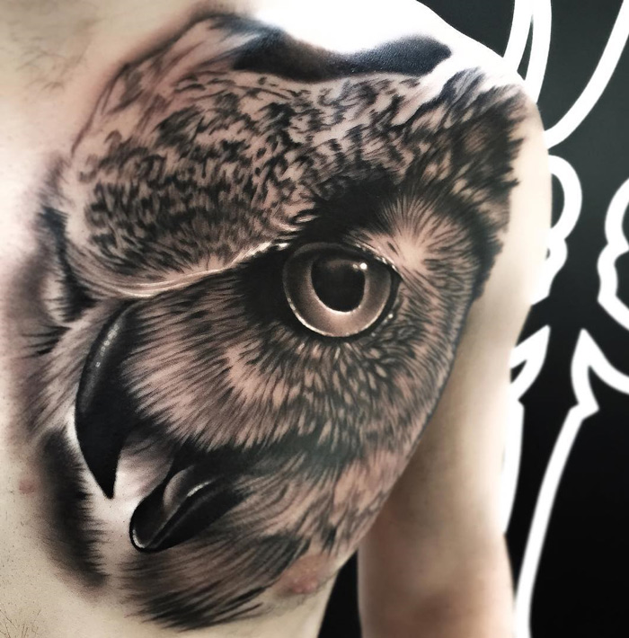 Owl Tattoo Portrait on Chest