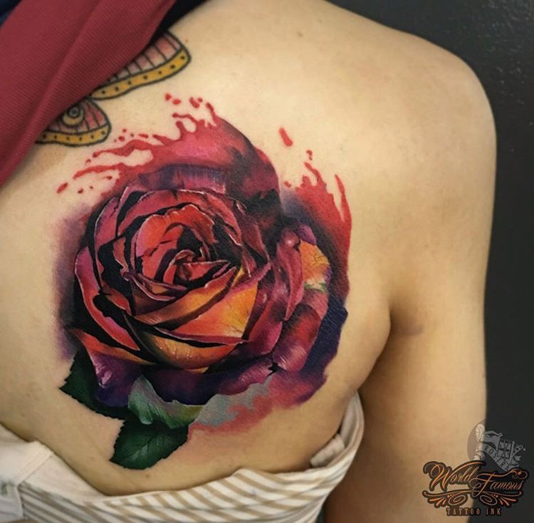 Realistic Rose On Shoulder Blade Best Tattoo Design Ideas