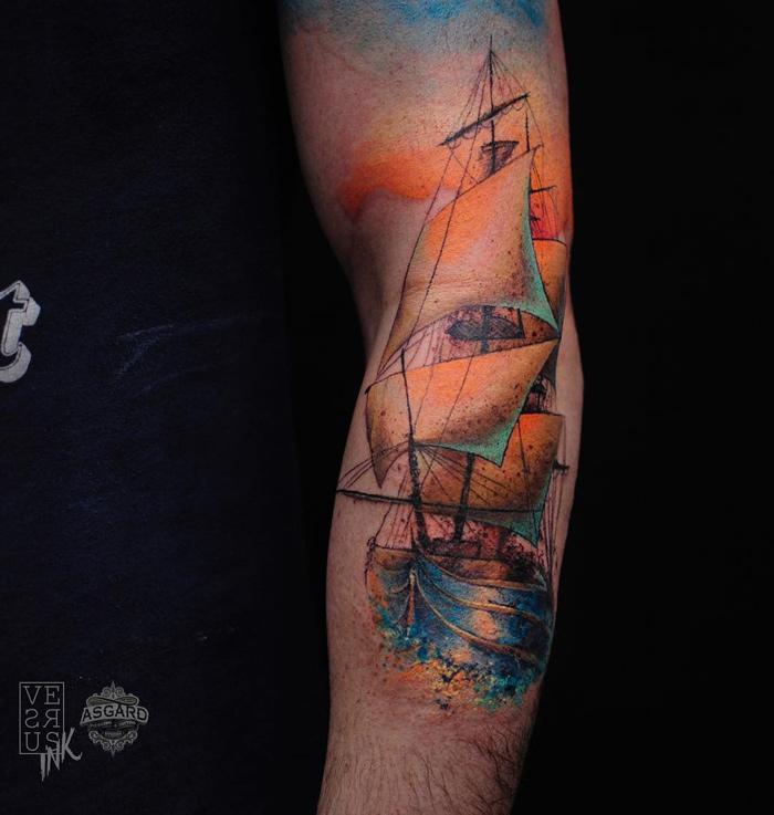 Sailing Ship Watercolor Arm Piece