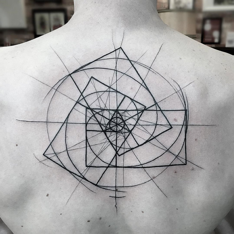 geometric spiral tattoo