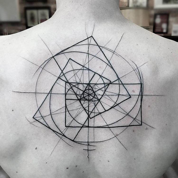 geometric spiral tattoo