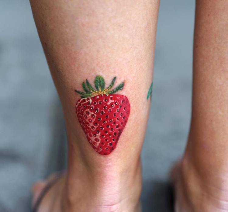 Strawberry Realistic Tattoo