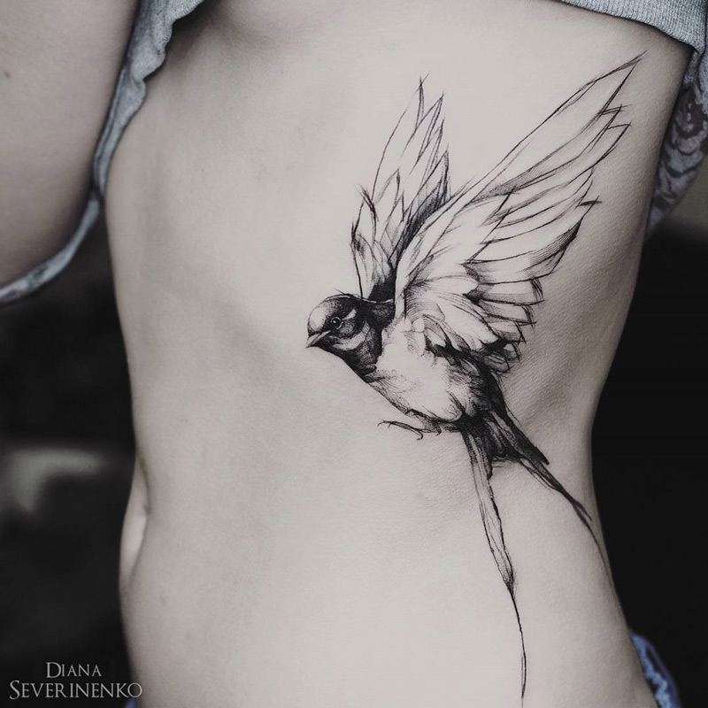 Swallow Side Tattoo