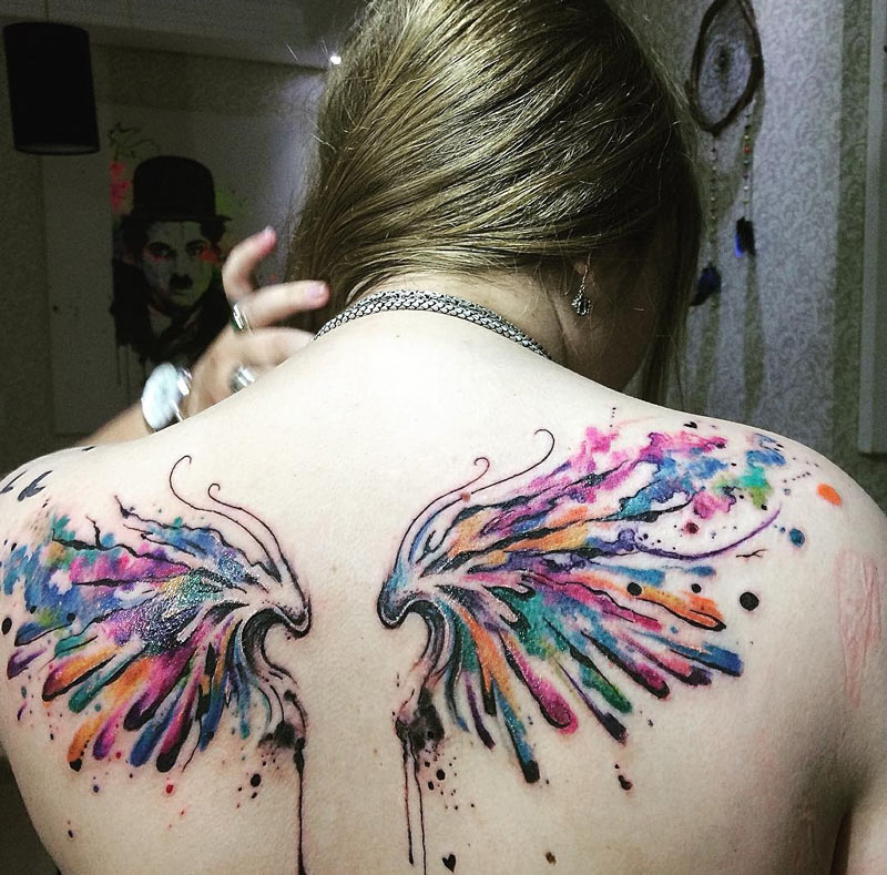 Watercolor Wings Back Piece