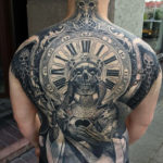 Clock & Skull on Guys Back