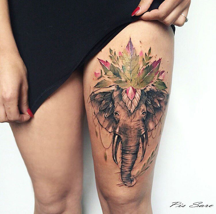 Elephant & Leaves Thigh Tattoo