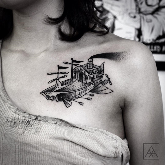 Flying Ship Chest Tattoo