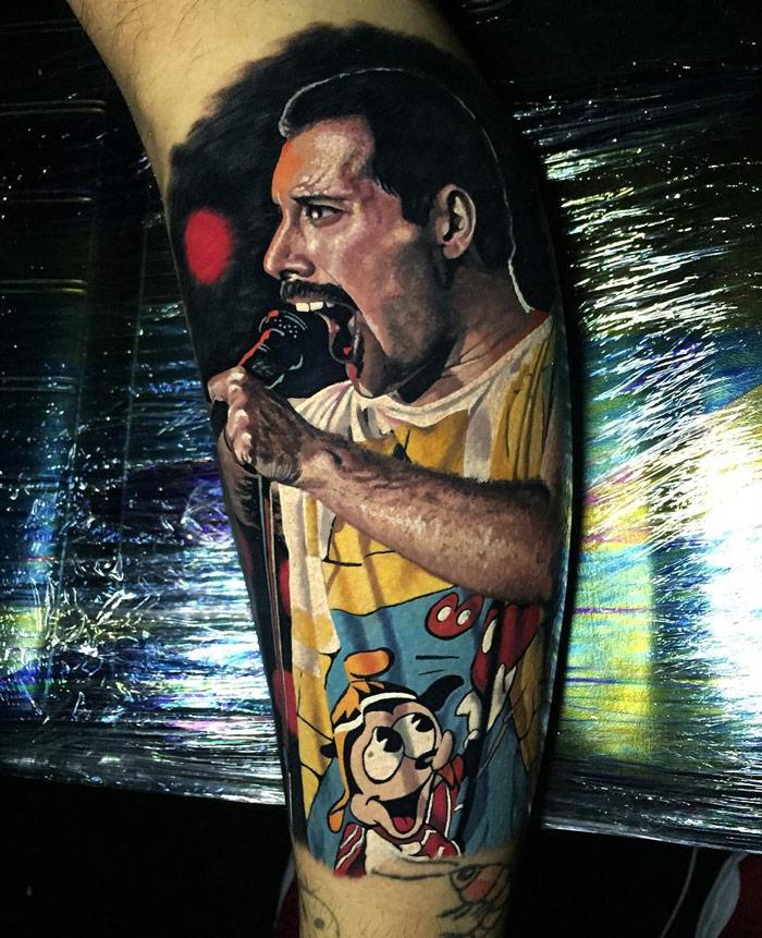Realistic Freddie Mercury Tattoo