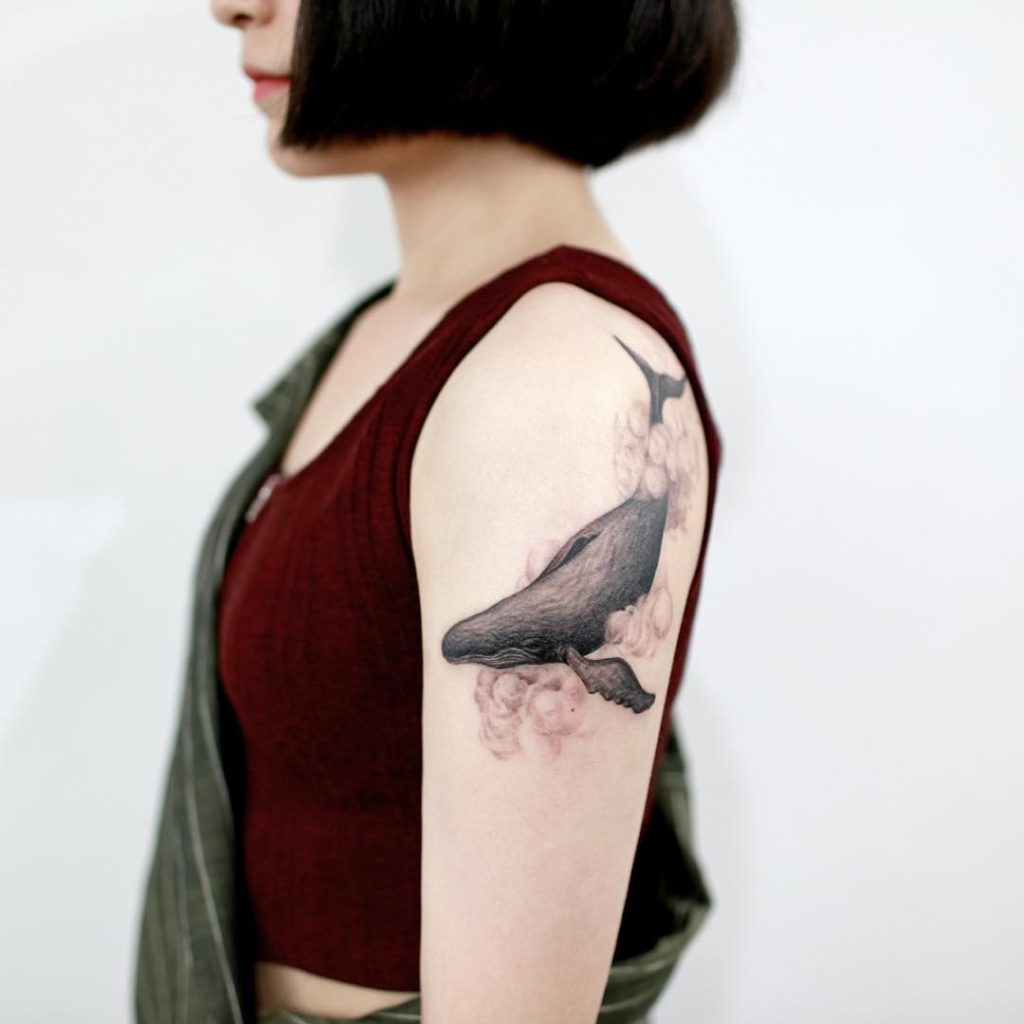 Serene Whale & Cloud Arm Piece | Best tattoo design ideas