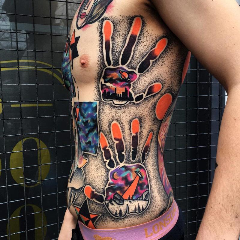 Absatract Alien Side Tattoo