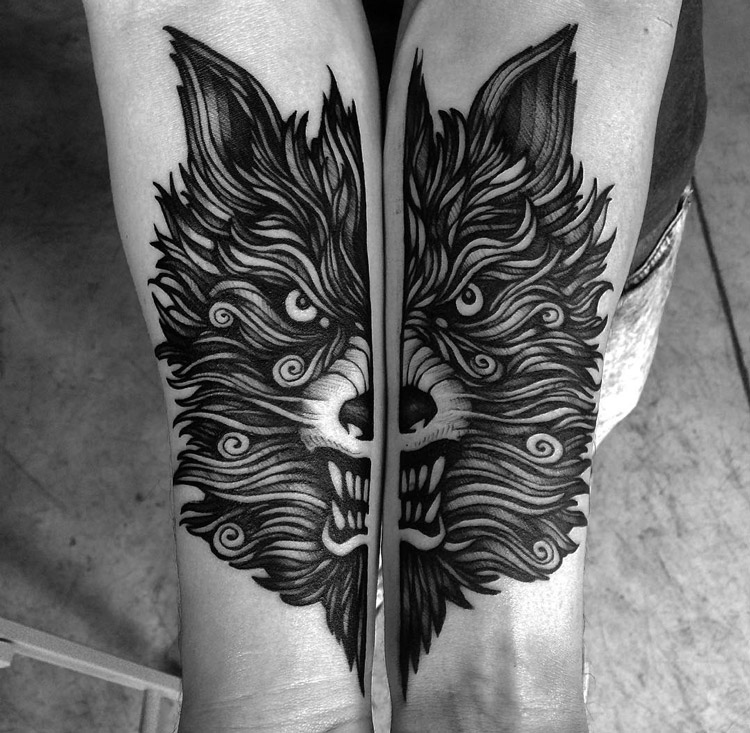 angry wolf double arm piece best tattoo design ideas. Black Bedroom Furniture Sets. Home Design Ideas