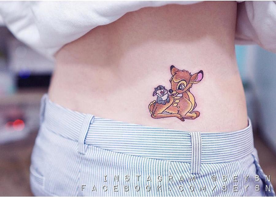 Bambi & Thumper Hip Tattoo