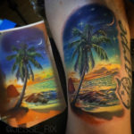 Tropical Beach Sunset Tattoo