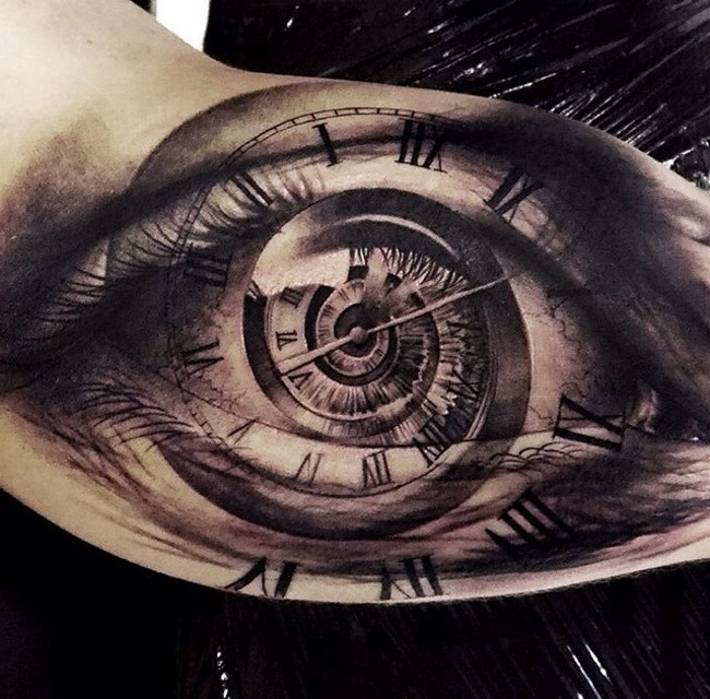 Eye spiraling clock on guys bicep best tattoo design ideas for Best tattoo artists in nyc 2017
