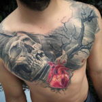 Realistic Heart Chest Tattoo