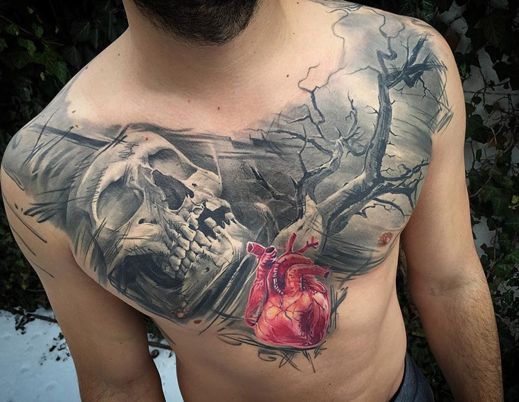 Heart & Skull Chest Tattoo