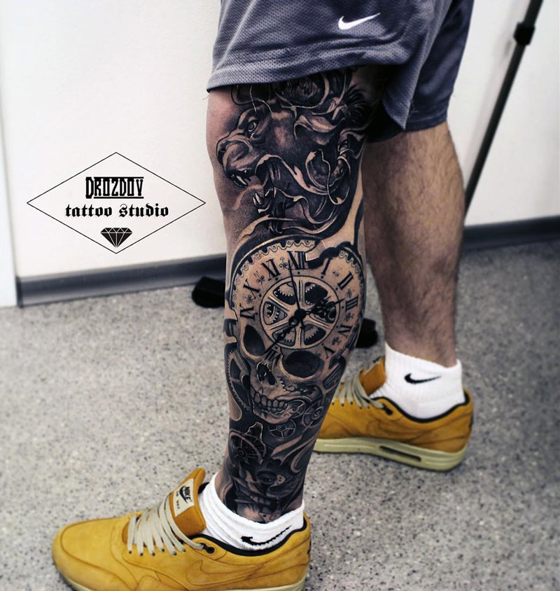 f717223280c92 Leg Sleeve with Lion Clock & Skull | Best tattoo design ideas