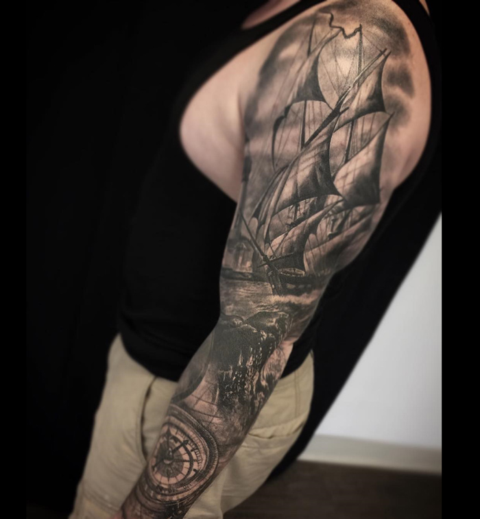 Sailing Ship Amp Compass Nautical Sleeve Best Tattoo Design Ideas