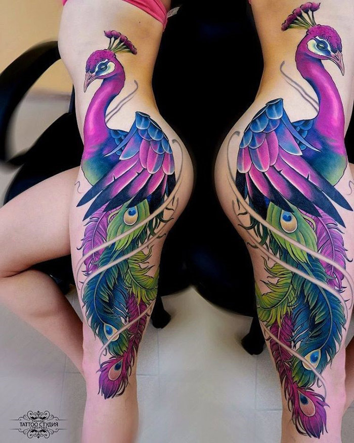 Beautiful Peacock Side Tattoo