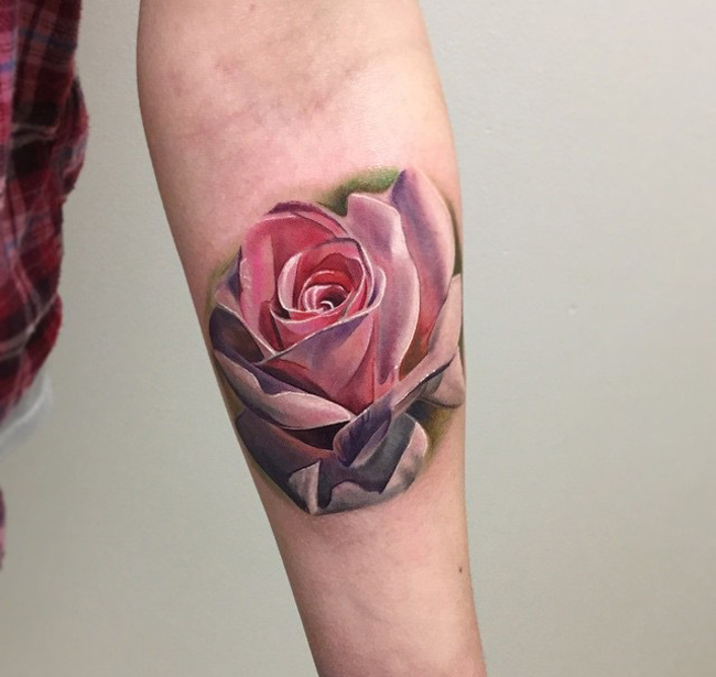 Pink Rose Girls Arm Tattoo