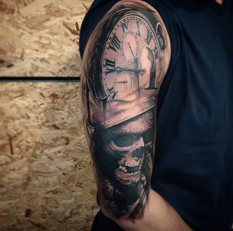 pocket watch amp skull half sleeve best tattoo design ideas