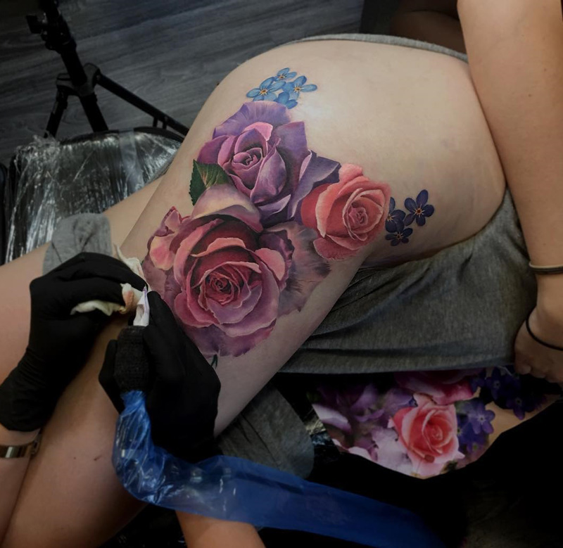 Colorful Roses On Girls Hip Thigh Best Tattoo Design Ideas