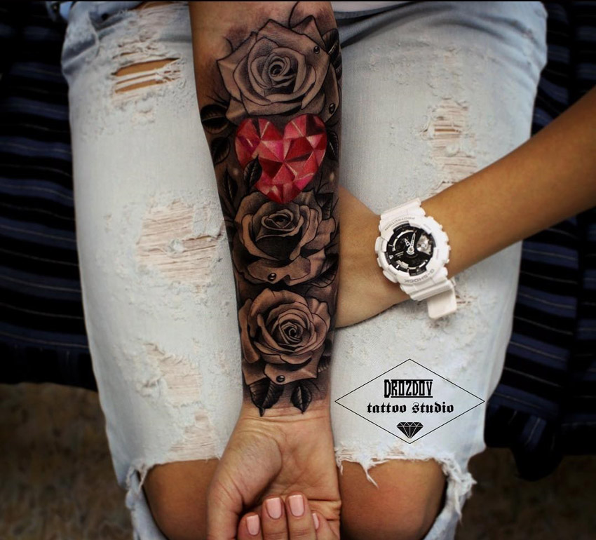 470f8345f Roses & Pink Crystal Heart Woman's Forearm Sleeve | Best tattoo design ideas