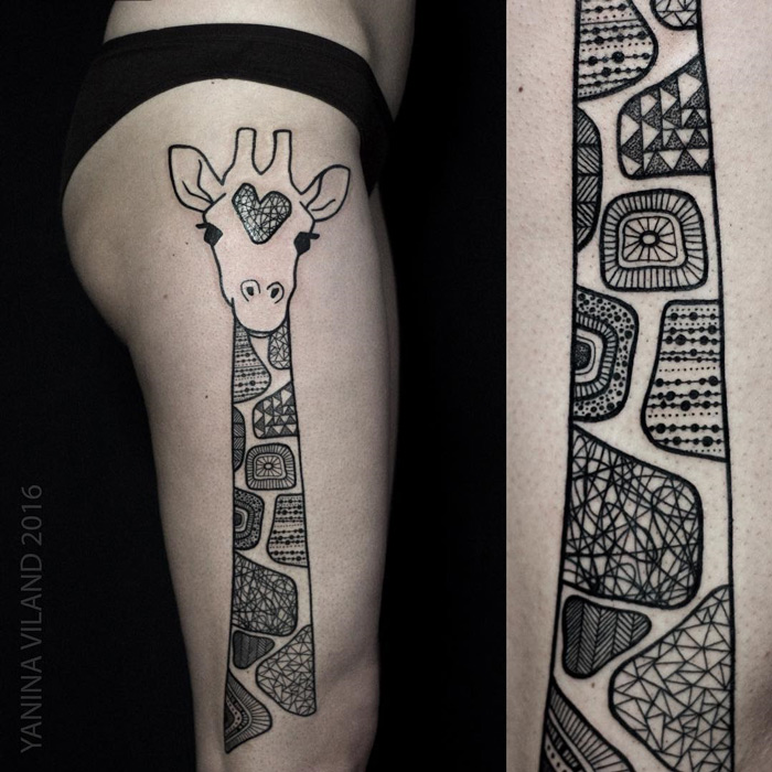 Sexy Giraffe Side Tattoo