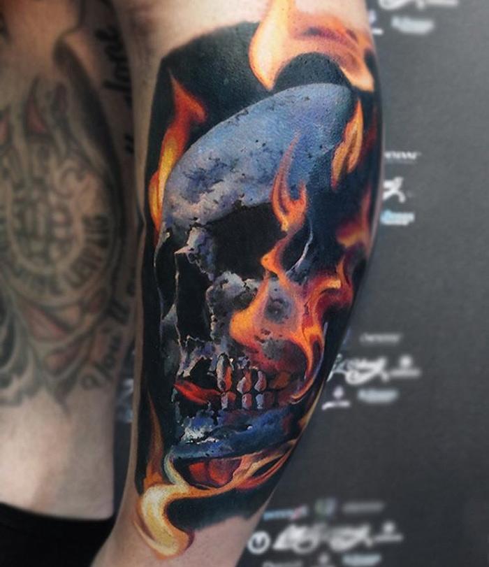 Skull & Flames Leg Tattoo