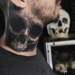 Skull neck tattoo realistic 3D style