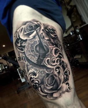 Sundial & Roses