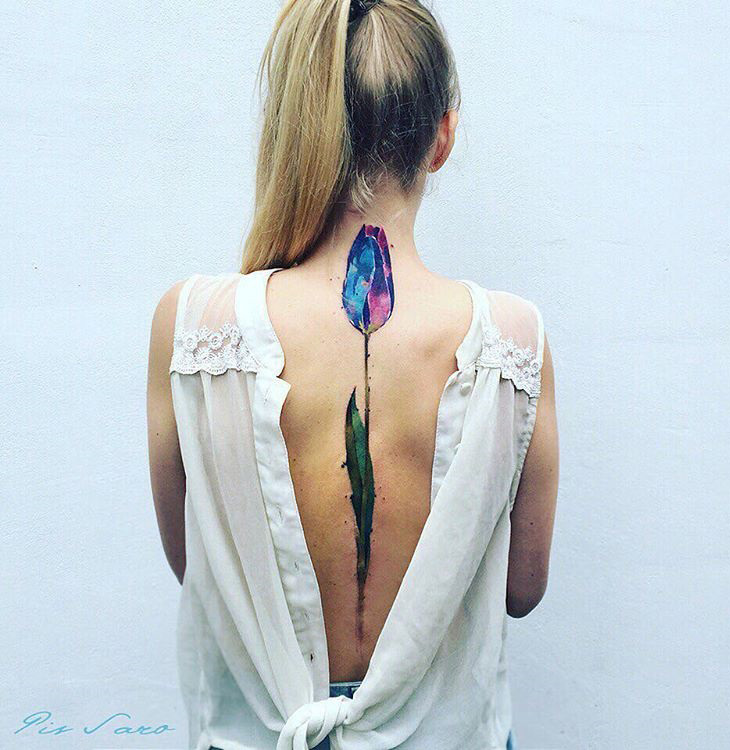 Pretty Tulip Back Tattoo