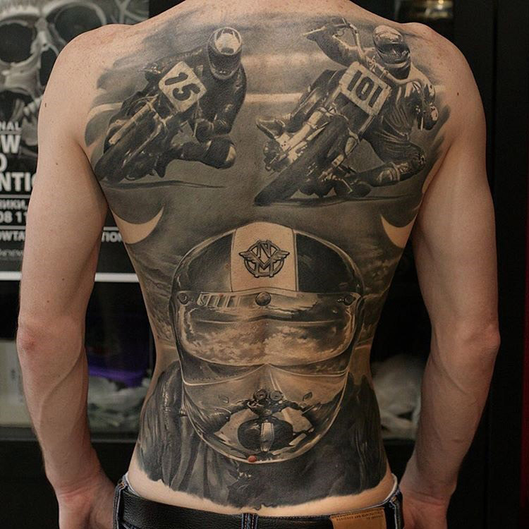 vintage motorcycle racing back tattoo best tattoo design ideas. Black Bedroom Furniture Sets. Home Design Ideas