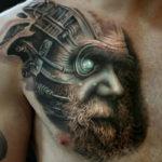 Charles Darwin & Cyborg Tattoo Guys Chest