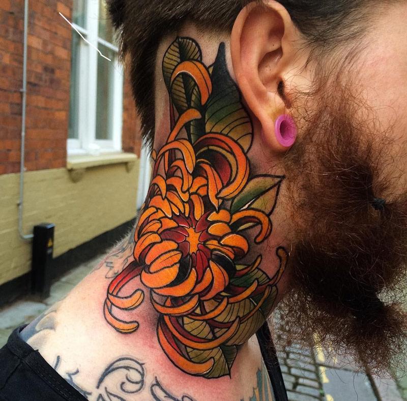 Chrysanthemum Neck Tattoo