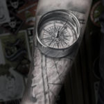 Realistic 3D Compass & Map Tattoo