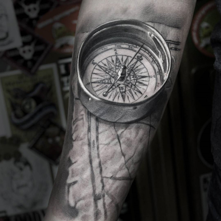 Realistic 3d Compass Map On Guys Forearm Best Tattoo Design Ideas