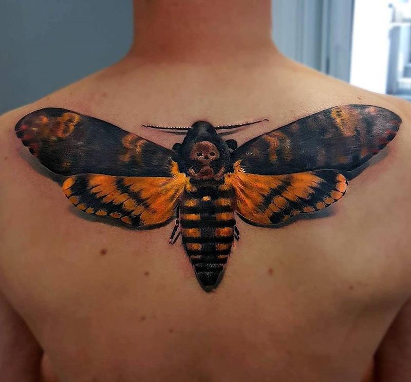 Death's-Head Hawkmoth Back Tattoo