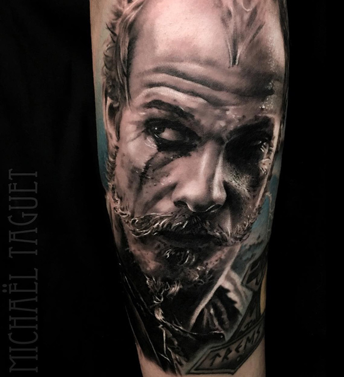 Floki from vikings realistic guys arm tattoo best for Tv show with tattooed woman