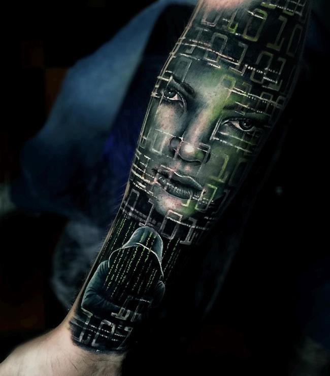 Guys Arm Hacker Tattoo