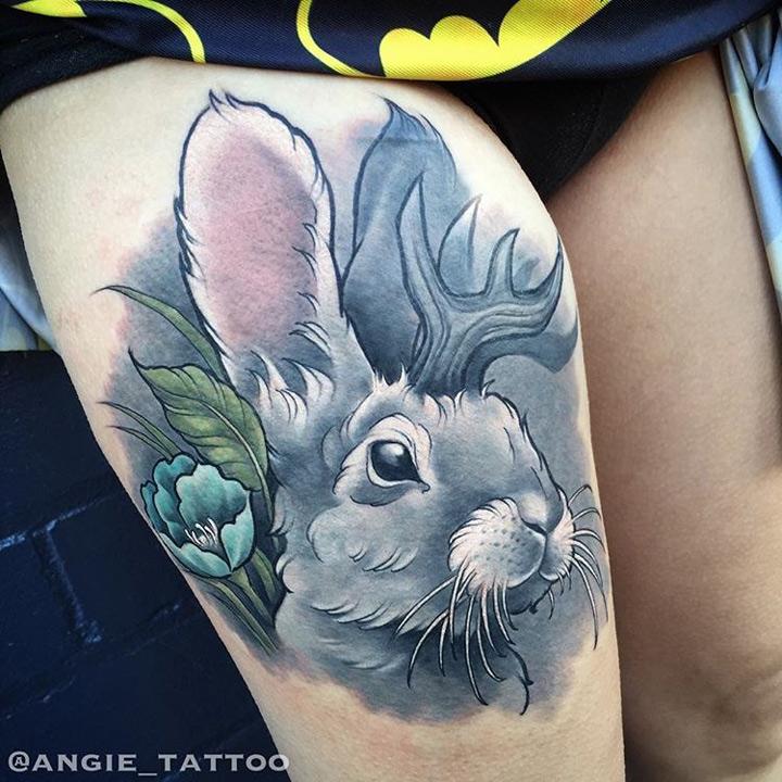Jackalope thigh tattoo