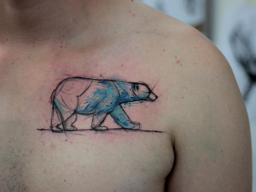 Polar bear guys chest tattoo