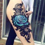 Blue Rose, Black Lace Thigh Tattoo
