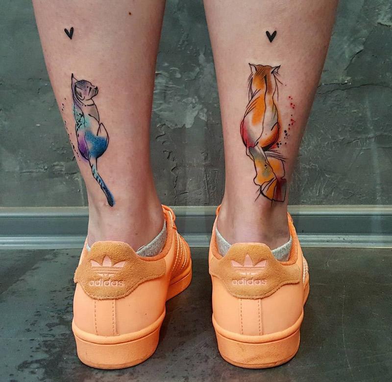 Cute Cats Back Of Girls Legs Best Tattoo Design Ideas