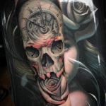 Clock, Skull & Rose