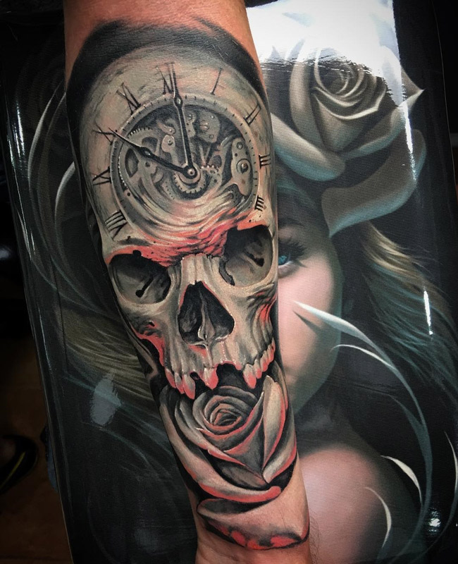 clock skull rose fusion on guys arm best tattoo design ideas. Black Bedroom Furniture Sets. Home Design Ideas