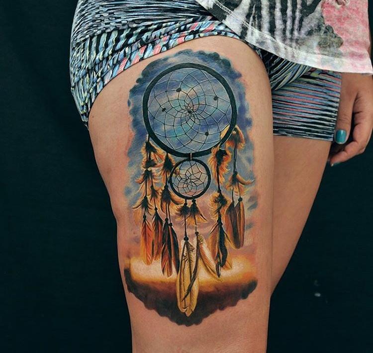 Pretty Dreamcatcher Girls Thigh Piece Best Tattoo Design Ideas
