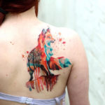 Geometric Fox girls back tattoo