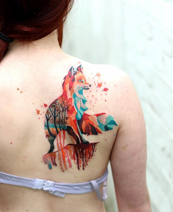 Colorful Geometric Fox On Girls Back Best Tattoo Design